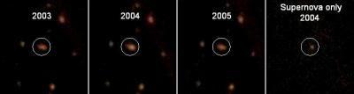 Imágenes de tres años consecutivos de galaxia con supernova