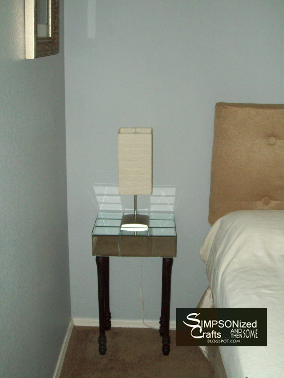 Simpsonized crafts diy mirror nightstand for How to make a mirrored nightstand diy