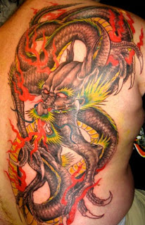 lower back dragon tattoos for men