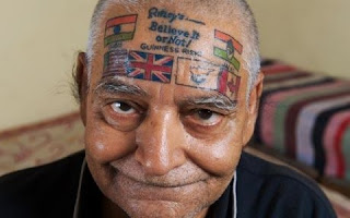 Bad face tattoos man
