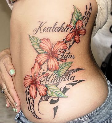 Belly Flower Tattoos For Girls with Star