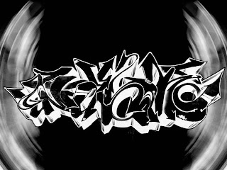 black white graffiti letters