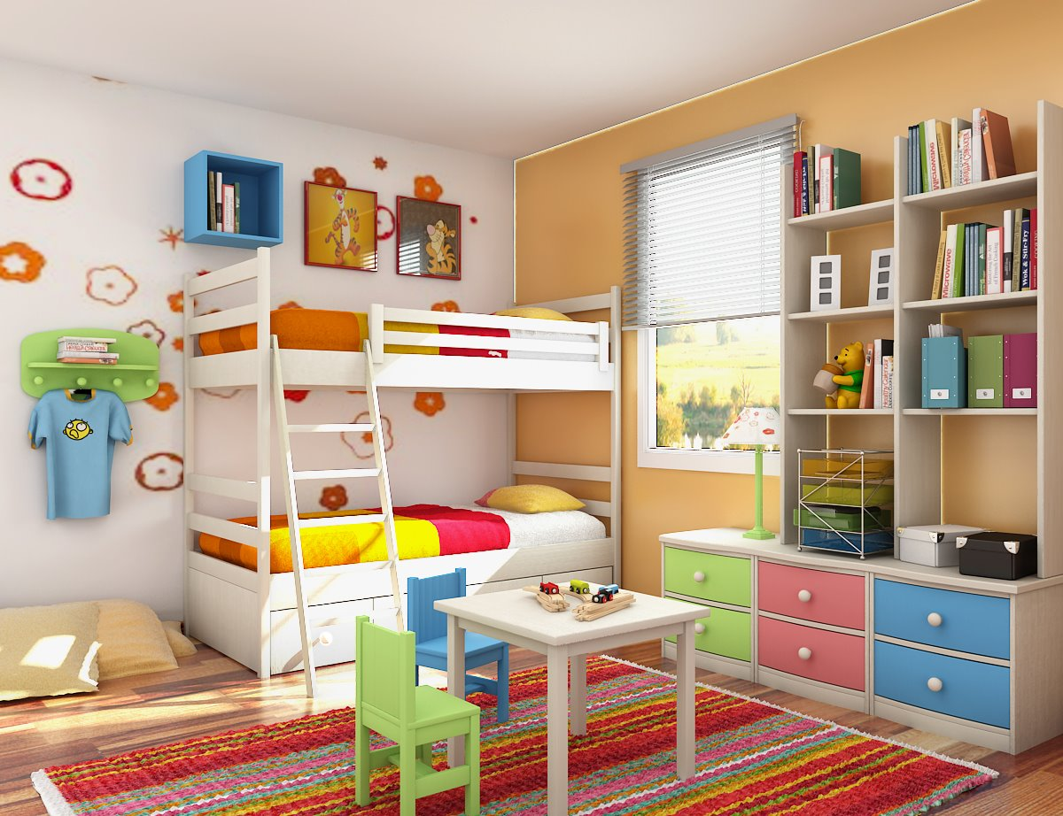 Home decoration design interior design kids room full color simple decorate - Interior design bedroom small space set ...