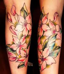 foot tattoos flowers design