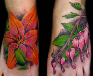 foot tattoos flower for girls
