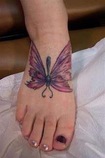 buterfly tattoos on foot for women