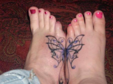 pretty butterfly tattoos. pretty foot tattoos.