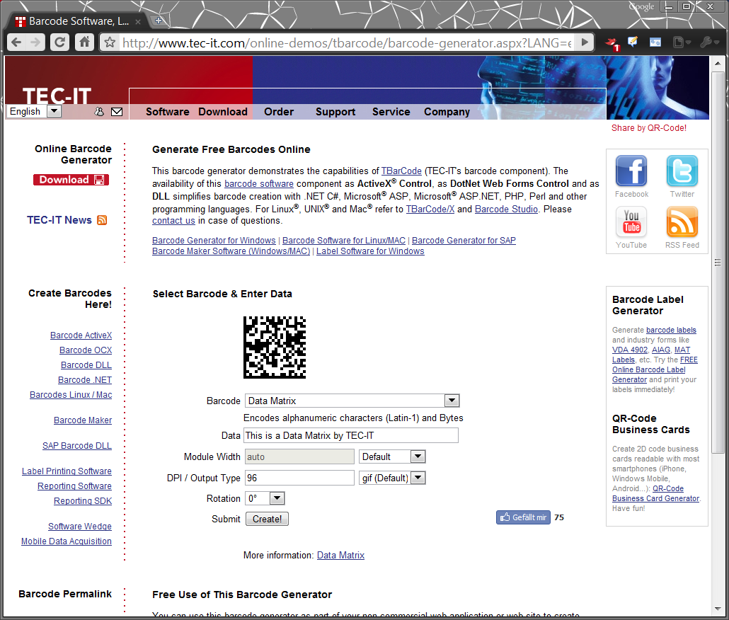 Qr Barcode Generator Online Free by TEC-IT: Free...
