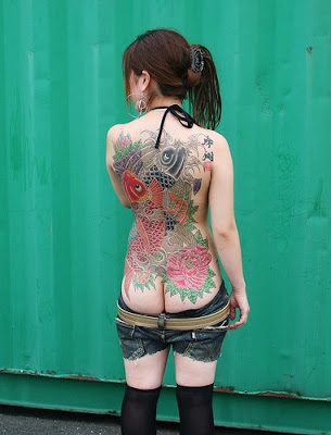 Koi Fish Tattoo Style On Back Sexy Girl