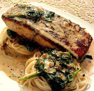 ... Aromas: Pan seared salmon on baby spinach with tarragon cream sauce