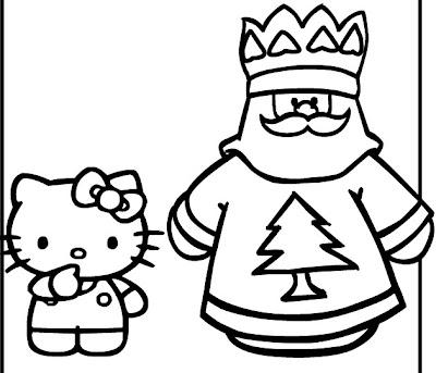 Hello Kitty navideño para colorear o para moldes ~ cositasconmesh