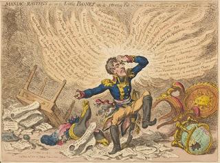 Napoleón, 'Maniac raving's or Little Boney in a strong fit'de James Gillray -1803- de la colección de impresos de Miriam e Ira D. Wallach, extraída de www.nypl.org
