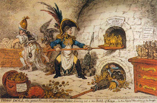 'Tiddy Doll, the great French-Gingerbread-Baker; drawing out a new Batch of Kings',James Gillray