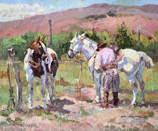 'Caballos al sol',óleo de Darío Mastrosimone, tomado de dariomastrosimone.com.ar