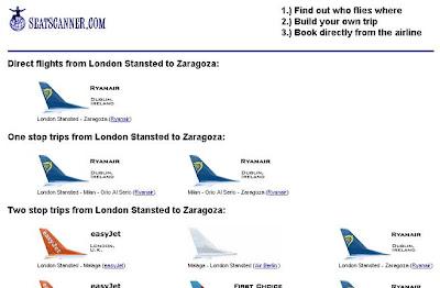 Ejemplo de búsqueda en seatscanner: de Londres a Zaragoza