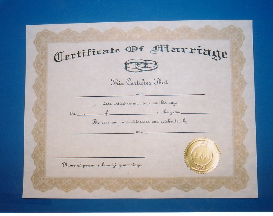 my marriage certificate was