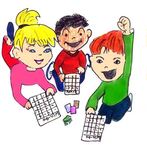 playing bingo with students
