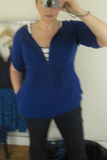 Anthropologie blue sweater zip cardigan review