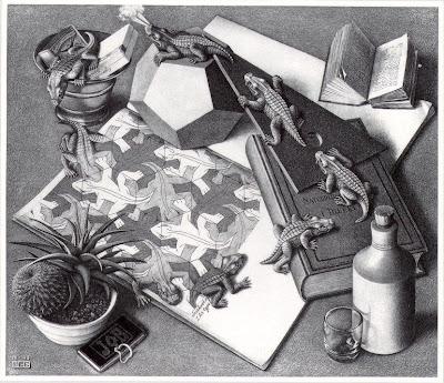 Megalomanía humana Escher+-+1943+-+Reptils-Crocodiles+BW