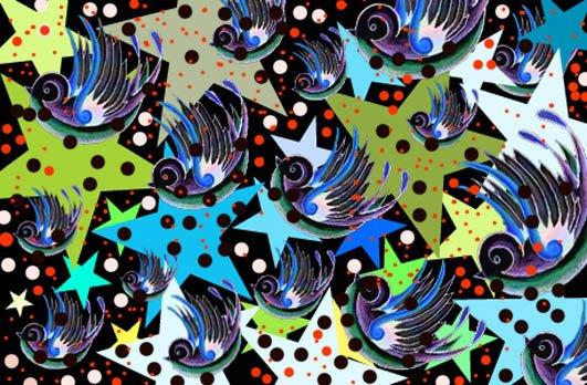 un cuadrito ke hice (golondritas y estrellas)