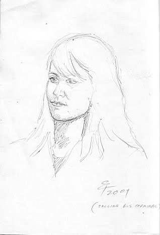 ESTONIAN GIRL AT TALLINN BUS TERMINAL,SKETCHING BY PEN,2009 ESTONIA