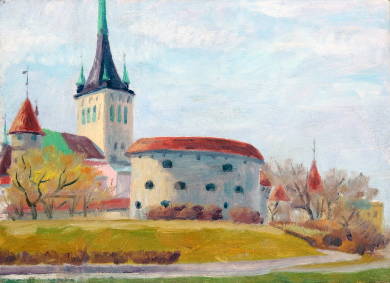 12.The Oleviste church view from Tallinn Bay,oil on canvas,33x24cm,Estonia 2009