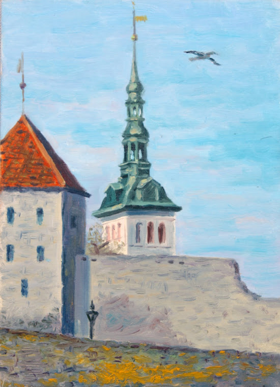 11.Castle at Niguliste church,oil on canvas,33x24 cm,Estonia 2009