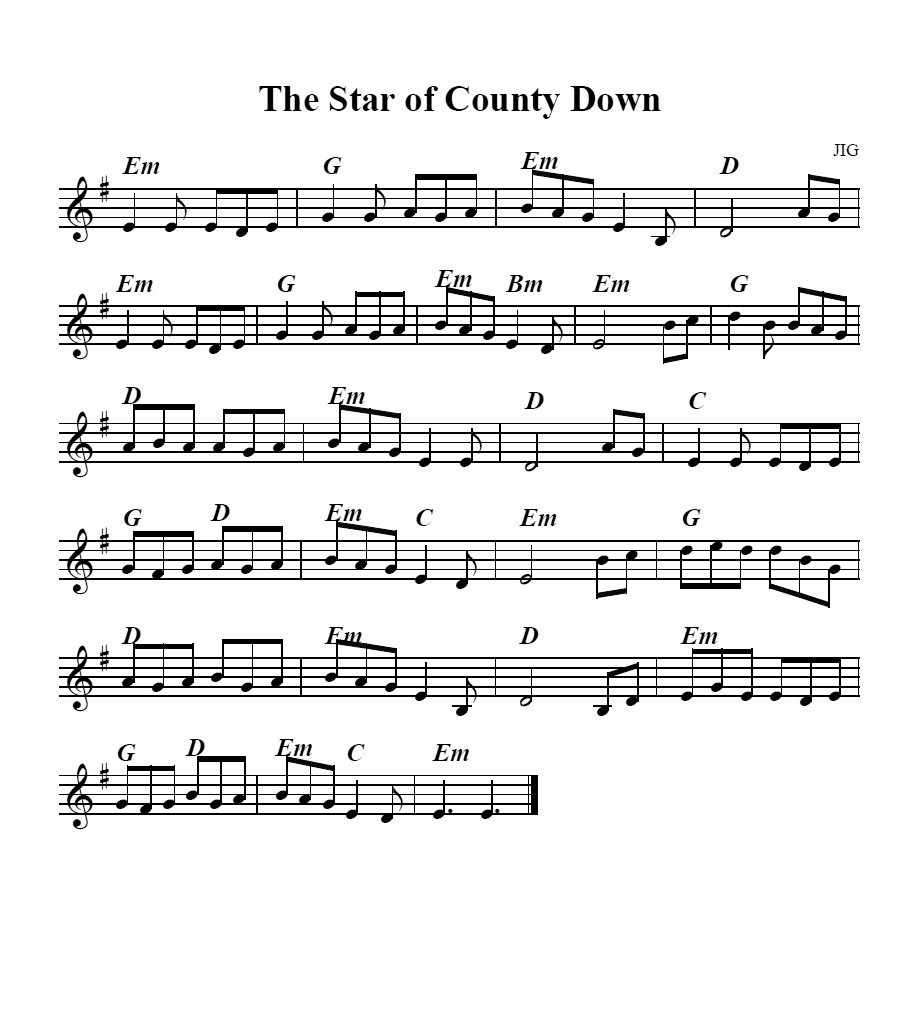 Bollywood Sheet Music September 2011: Bouzouki GDAE: Star Of The County Down