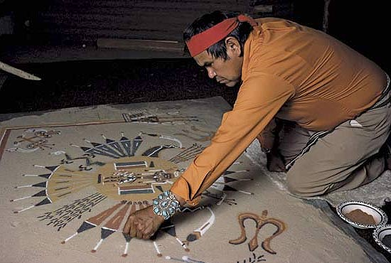 navajo sand paintings Since the 1960's, the simple practice of sandpainting on a chipboard for sustenance has blossomed into a complete art form in itself.