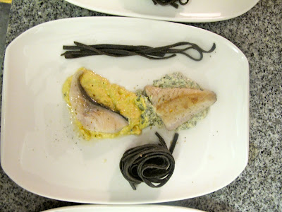 Plate #4 was a black cod sitting on a aji amarillo based sauce and a ...