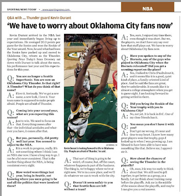 Kevin Durant's Q&A with Sporting News Today