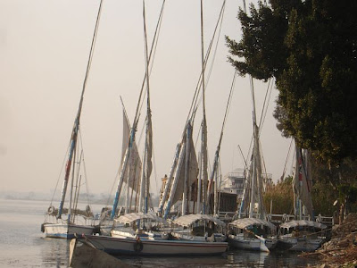 Pictures of feluccas on the river Nile in Cairo, Egypt.