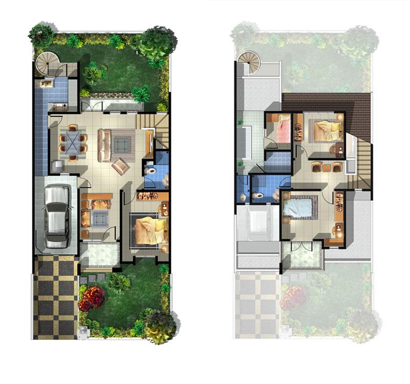 Berikut ini beberapa denah rumah yang ideal menurut saya.. rumah