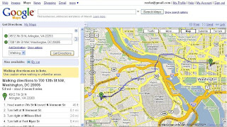 Google Maps walking directions route example