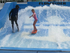 Olivia surfing on the cruise ship