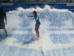 Keeleigh surfing on the cruise ship