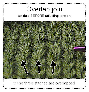 overlapped stitches before tension is adjusted