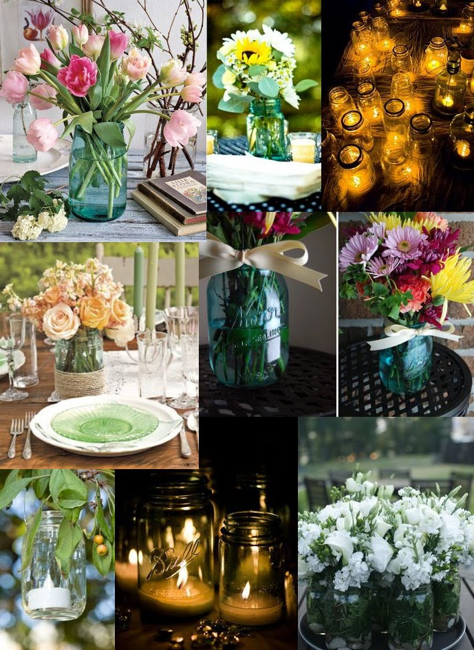 and your centerpieces are finished Mason Jar inspiration board by Dave