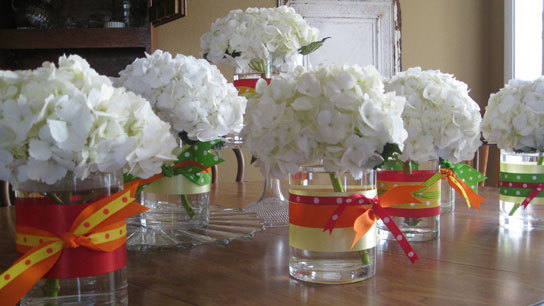 Hydrangea Wedding Centerpieces. Easy centerpieces. Hydrangeas