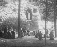 The first known photograph of Notre Dame's Lourdes-style grotto built in 1896
