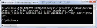 Error yang muncul ketika menggunakan CMD
