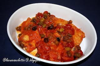 Baccalà in umido con olive e capperi