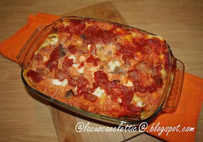 Lasagne napoletane con ricotta, mozzarella di bufala e salsicce