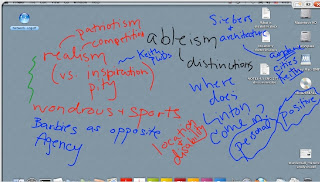A screen capture of the SMART board notes from class. The background is a computer desktop, and there is digital writing in blue, red, and green that describes various DS topics and authors, such as Simi Linton, ableism, rhetorics, masculinity, and so forth.