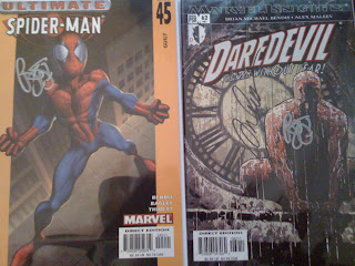Ultimate Spider-Man and Daredevil signed by Brian Bendis