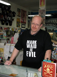 Mark Waid wearing a Mark Waid Is Evil t-shirt