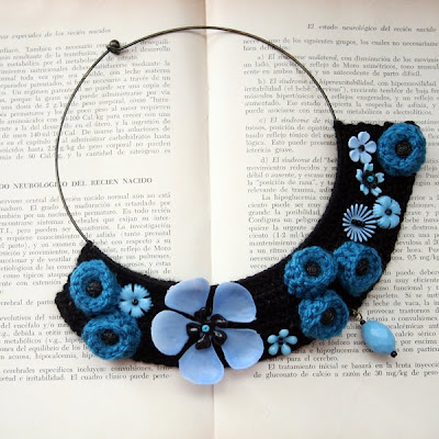 bib necklace with blue flowers