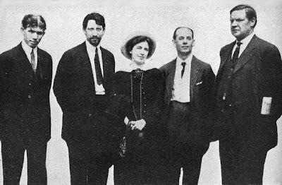Patrick Quinlan, Carlo Tresca, Elizabeth Gurley Flynn, Adolph Lessig y William Haywood