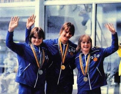 Andrea Pollack, Caren Metschuck y Christiane Knacke, Moscú 1980
