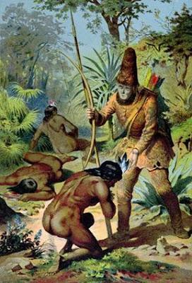 Encuentro entre Viernes y Robinson Crusoe